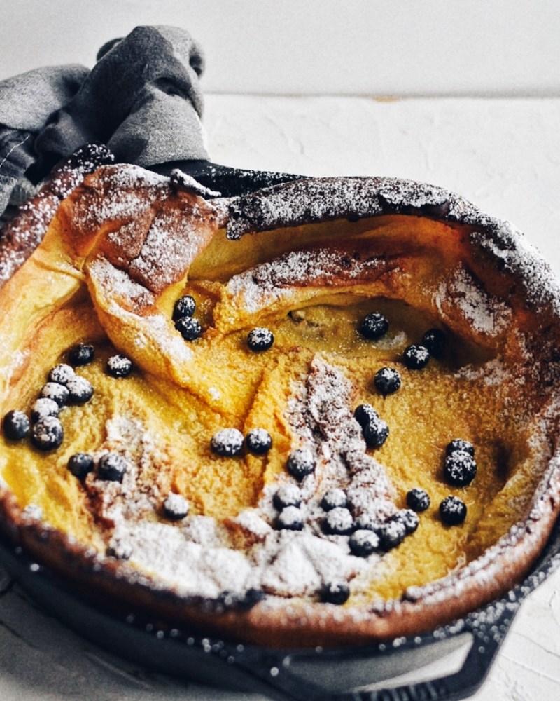 dutch pancake in cast iron pan