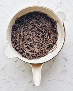 cooked soba noodles drained and rinsed in colander
