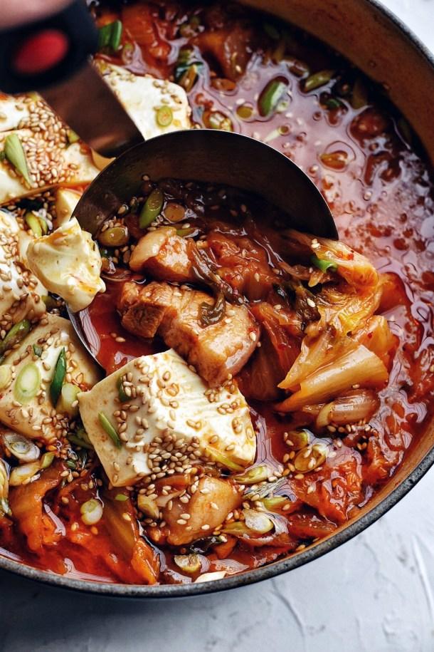 close up of kimchi stew (kimchi jjigae)