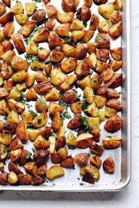 vertical sheet pan with roast potatoes and parsley