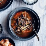 bowl of spicy Korean beef soup, yukgaejang
