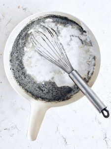 mixing bowl with evaporated milk and coconut milk