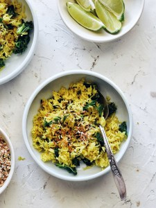 shallow bowl filled turmeric coconut rice