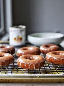 glazed mochi donuts on wire rack