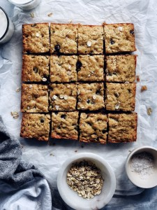 dark chocolate oatmeal bars, cut into squares