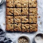 dark chocolate oatmeal bars, cut into squares