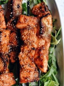 miso salmon skewers, close up