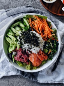 bowl of Hwe Dup Bap (Korean Sushi Bowl) on napkin