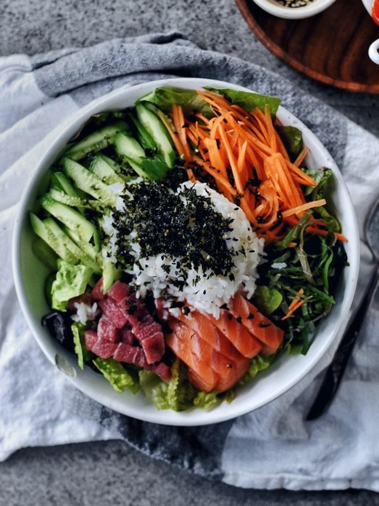 bowl of Hwe Dup Bap (Korean Sushi Bowl) on napkin