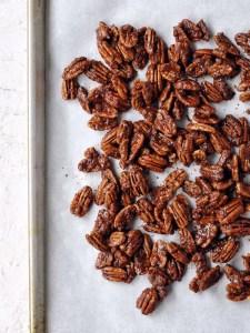 sheet pan of candied pecans