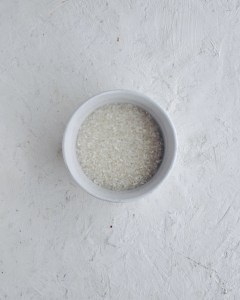 short grain rice, covered in water