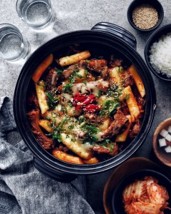 black serving dish filled with spicy galbi jjim