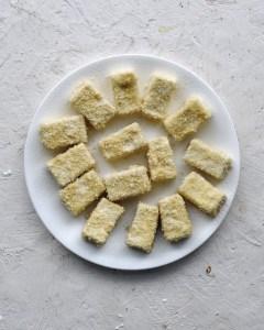 plate of dredged tofu blocks