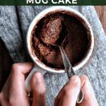 hands scooping up easy chocolate mug cake