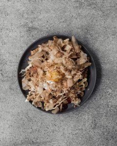 Japanese Okonomiyaki on grey plate