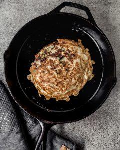 okonomiyaki in cast iron skillet