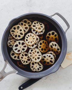 ingredients for braised lotus root in pan