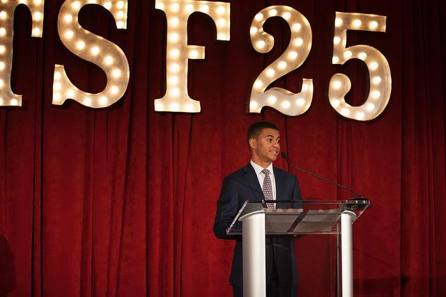 Derek DaSilva (TSA '09, Roxbury Latin '15, Harvard '19) giving the keynote speech at Steppingstone's Anniversary Gala