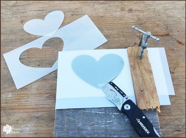 Valentine's Day DIY creating heart stencil
