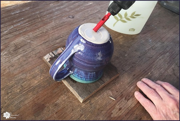 Technique for Drilling Ceramic - Start with 45 Degree Angle and water on surface to be drilled