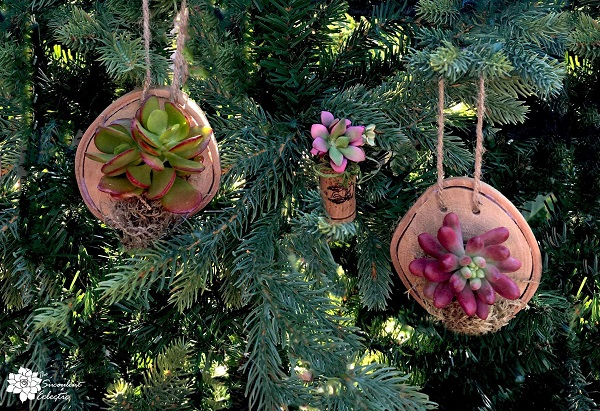 rustic Christmas ornaments hanging on Christmas tree