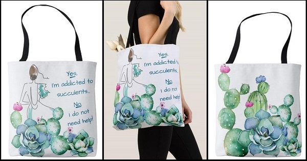 sturdy canvas succulent tote makes a great gift!