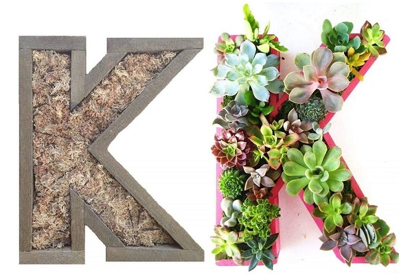 succulent planter in the shape of your initials is a great gift