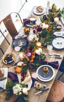 not-your-typical-fall-table with purple, yellow, and green elements