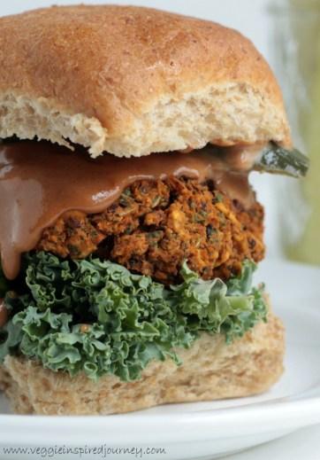 bean and kale bbq burger via veggie inspired journey