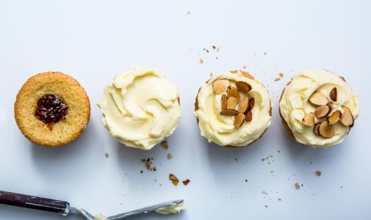 jam filled almond cupcakes via bon appetit