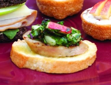 apple chicken sausage crostini with apple kale slaw via tea time magazine