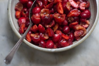red fruit salad with stawberries and cherries via 101 cookbooks