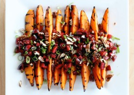 grilled sweet potatoes and cherry salsa via the first mess