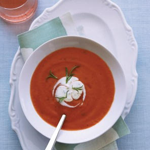 chilled tomato soup with tarragon creme fraiche via food and wine