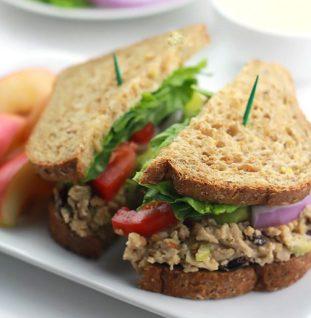 cranberry chickpea salad sandwich via the whole serving