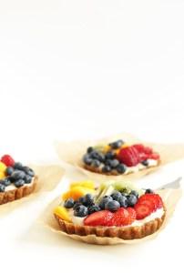 no bake lemon cookie fruit tarts via minimalist baker