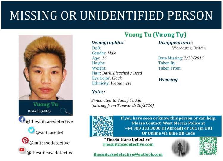Missing Person poster for VUONG TU