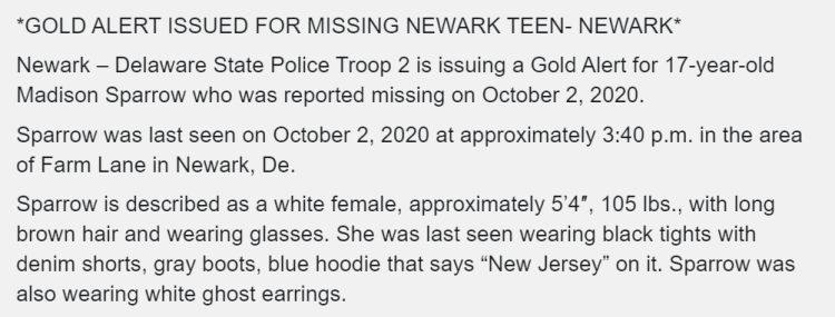 Gold Alert issued for Madison Sparrow