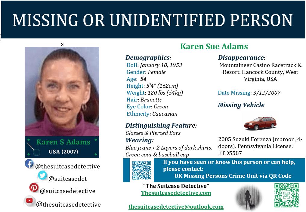 Missing person photo for Karen Adams