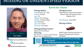 Missing Person poster of Karen Adams