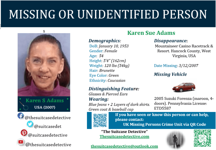 Missing person photo for Karen Adams