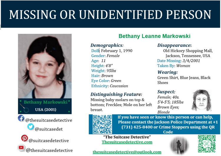 Missing person poster in the disappearance of Bethany Markowski