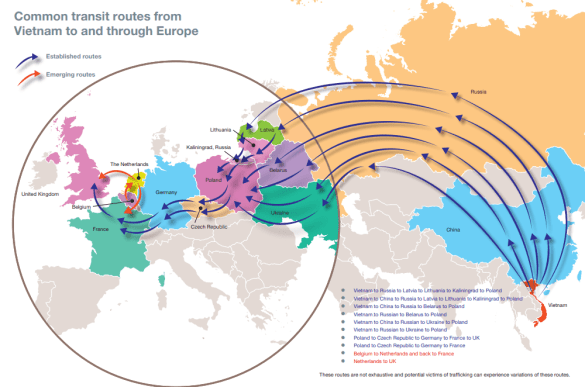 Common trafficking routes from Vietnam into Europe