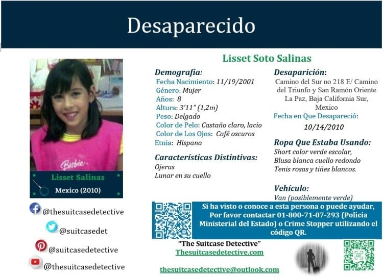 Missing Person poster for Lisset Soto Salinas