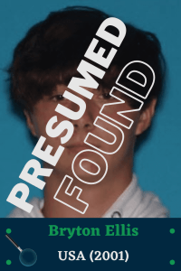 Photo of older Bryton Ellis with the words 'Presumed Found' diagonal across it.