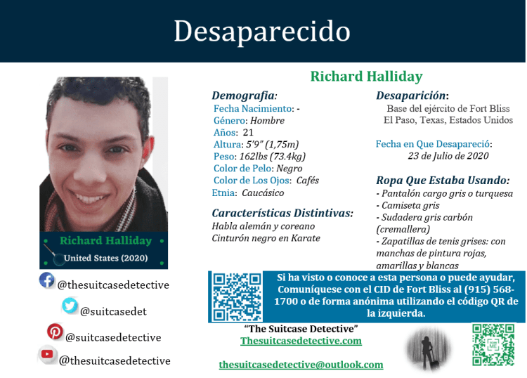 Richard Halliday Missing Person Poster (Spanish)