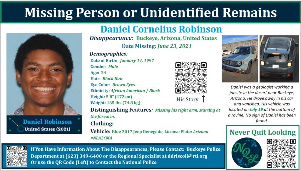 Daniel Robinson, 24, Male, Black Hair, Brown Eyes, African American, Missing Man