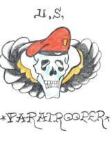 """Right Arm has tattoo of skull with a red beret that reads """"U.S. Paratrooper"""""""
