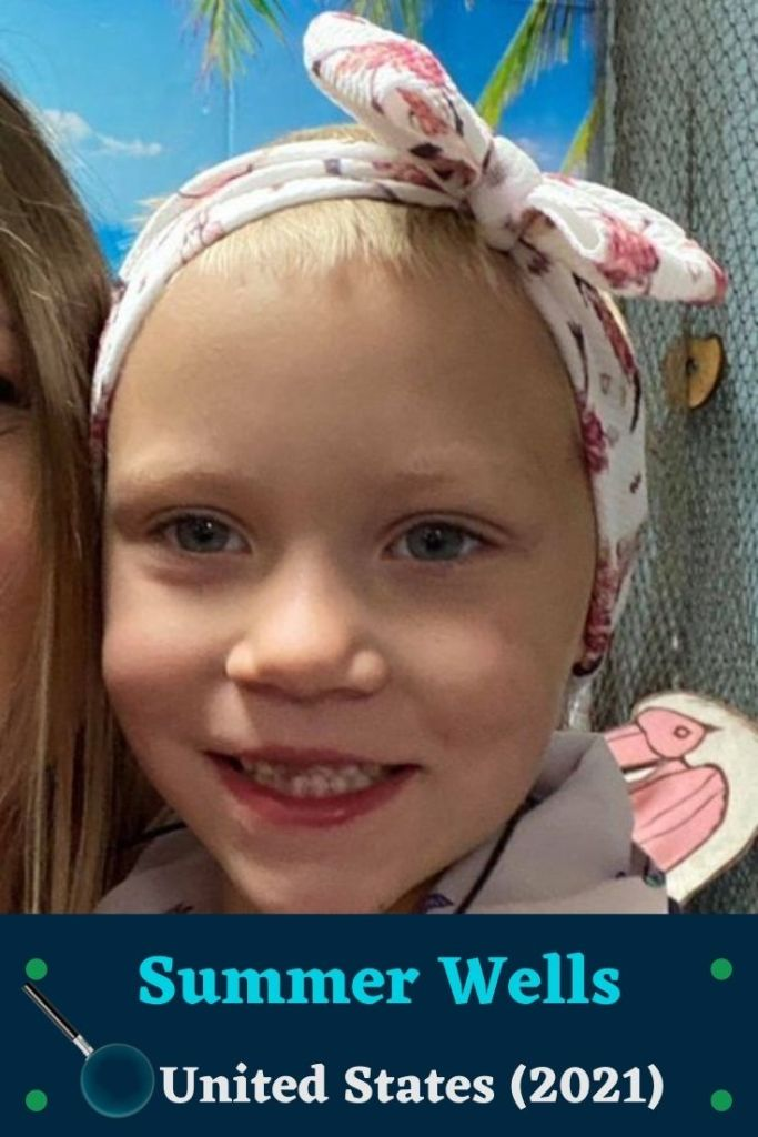 Summer Wells, Missing Child. Age, 5. 3 foot, 40 pounds. Shaved Blonde Hair. Blue Eyes. Caucasian. Pink Shirt, Grey Pants.