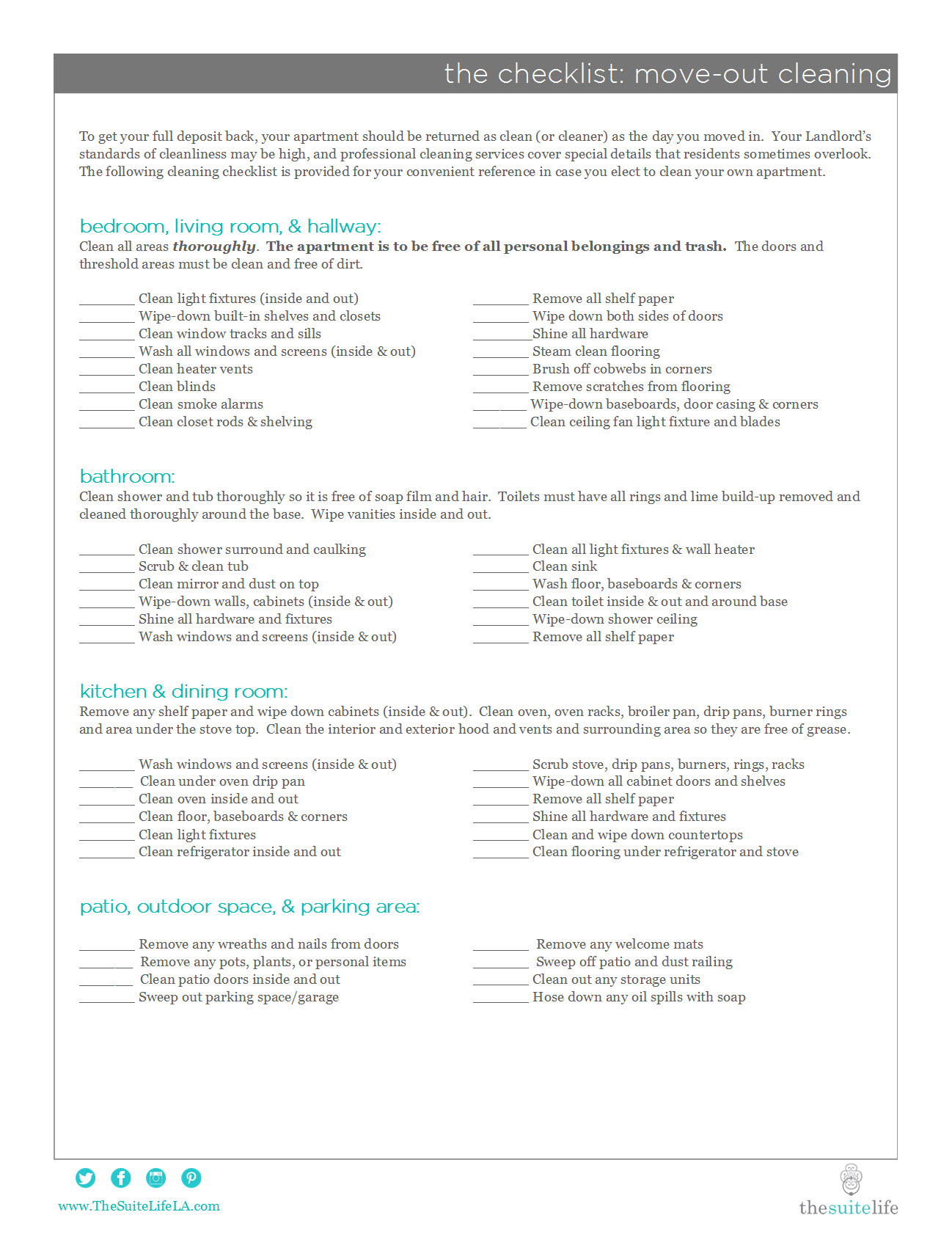 checklist move out cleaning